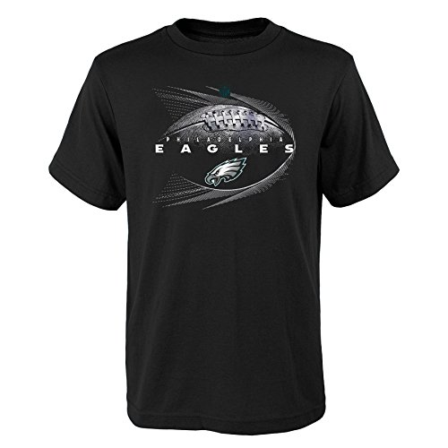 NFL Philadelphia Eagles Youth Boys Jet Stream Short Sleeve Tee, Black, Youth Boys Medium(10-12) by NFL by Outerstuff