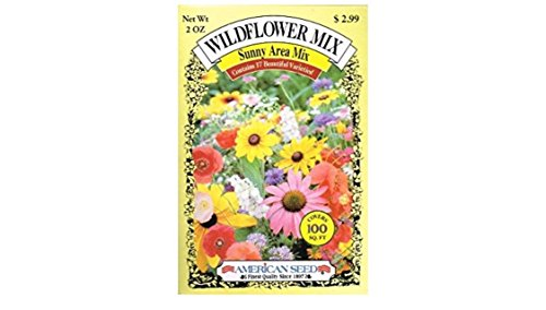 American Seed Wildflower Mix, Sunny Area Mix, 100 Square Foot Shaker Box (2 Ounce)