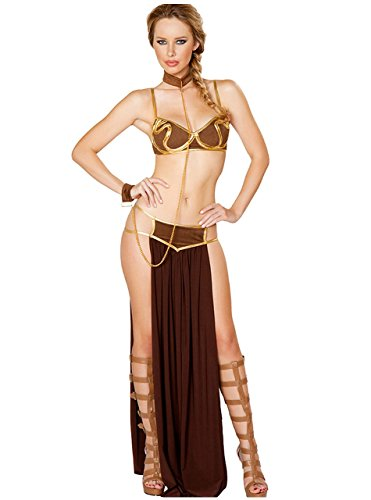 Little Beauty Sexy Costume Outfit Set Babydoll Bedroom Honeymoon Cosplay Princess Leia Gold M -