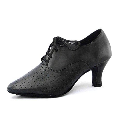 Monie Women's Lace-up Leather Modern Salsa Ballroom Tango Dance Shoes Flare Heel 1vQsWB