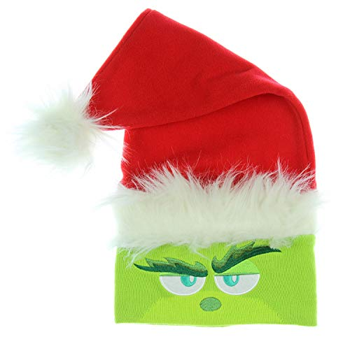 Dr. Seuss The Grinch Movie Embroidered Knit Santa Beanie Hat -