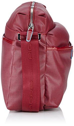 Piquadro Reporter, Collezione Aki, in Pelle e Tessuto, 30 cm, Rosso