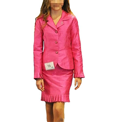 [HSDJ Girls' Long Sleeve Interview Pageant Suits Knee Length Ruffles Skrit Suit 12 US Fuchsia] (Pageant Suits)