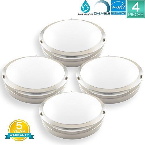 Pack of 4 Luxrite 12 Inch Flushmount LED Emergency Light For Home, 18W, 4000K (Cool White), 1380LM, Dimmable, Ceiling Light Fixture, ENERGY STAR, ETL Listed, Damp Rated, Battery Driver Not Included by Luxrite
