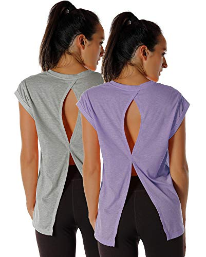 - icyzone Open Back Workout Top Shirts - Yoga t-Shirts Activewear Exercise Tops for Women(Pack of 2) (XS, Grey/Lavender)