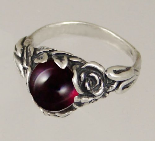 An Elegant Sterling Silver Gothic Ring Featuring Garnet Made in America