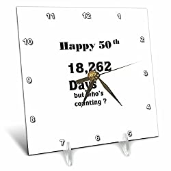 3dRose Print of Funny 50th Birthday or Anniversary - Desk Clock, 6 by 6-inch (dc_203987_1)