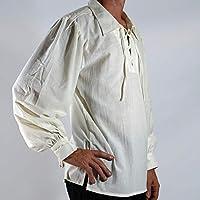 Camisa con Cordones Renacentista Medieval para Hombres Disfraz De Pirata Tunica Blanco XL: Amazon.es: Deportes y aire libre