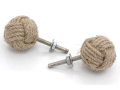 (RII 32MM Dia set of 4 jute rope cabinet knobs nautical decor)