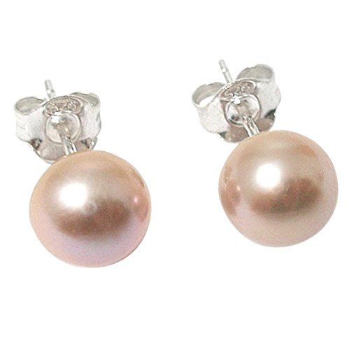 (7.5-8mm Soft Pink Lilac Pink Cultured Pearl Silver (925) Stud)