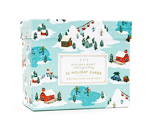 Minimalmart Premium Christmas Cards Box Set of 32 Assorted Premium Cards Gold Embellishments Stickers