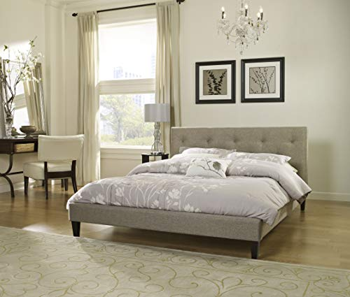 Boyd Sleep Kristina Upholstered Platform Bed Frame with Headboard: Tufted Linen, Taupe, Queen