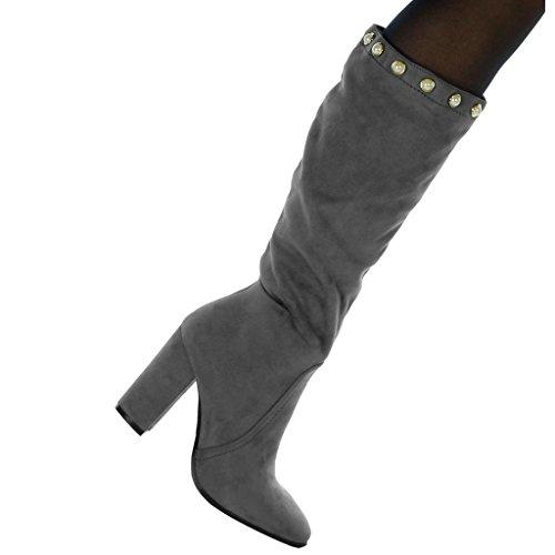 Angkorly Damen Schuhe Stiefel - Reitstiefel - Kavalier - Sexy - Flexible - Perle - Golden Blockabsatz High Heel 9.5 cm Grau