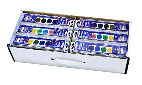 Prang Classroom Master Pack- Watercolor Paint Sets, 12 Each: 8-Color Basic Sets, 8-Color Glitter Sets, 8-Color Metallic Sets, 36 Sets Total (80519) ()