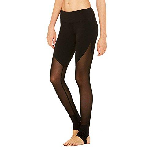Luxsea Women Sports Mesh Trouser Workout Fitness Capris Yoga Legging Pants