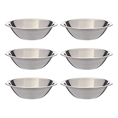 SET OF 6 - 6 1/2 Inch Wide Stainless Steel Flat Rim Flat Base Mixing Bowl