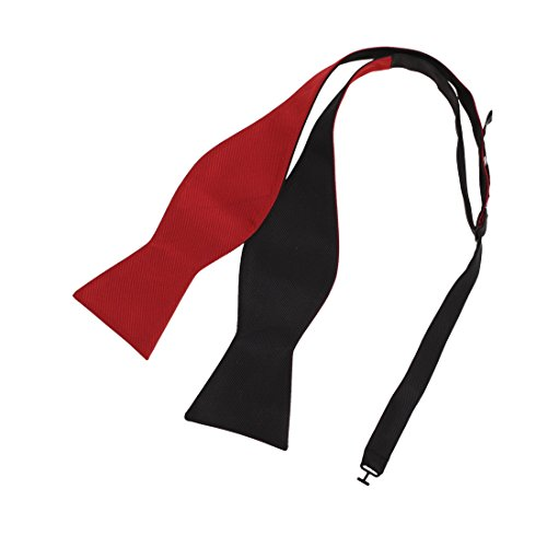 Epoint EBAF0039 Red Black Solid Bow Ties Silk Excellent For Bridegrooms Self-tied Double Sided Bow Tie