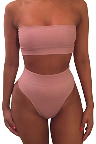 - Pink Queen Women's Removable Strap Pad Thong Bikini Set Wrap Swimsuit Pink1 S