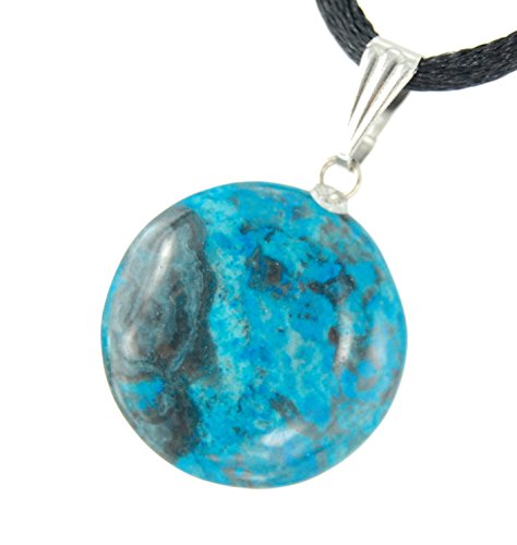 Celestial Collection - 20mm Full Moon Disc Blue Crazy Lace Agate Black, 20