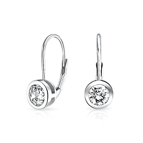 - Minimalist .50 Ct Solitaire Round Bezel Brilliant Cut Cubic Zirconia CZ Leverback Drop Earrings 925 Sterling Silver