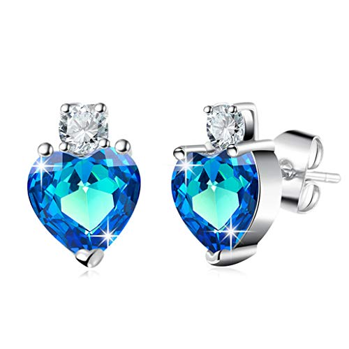 Blue Ocean Heart Stud Earrings Wedding Jewelry Birthday Mother Gift