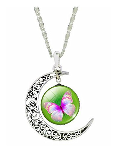Darkey Wang Women Fashion Butterfly Time Gemstone Necklace(2#)