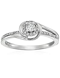 Sterling Silver Diamond Round Engagement Ring (1/10cttw, I-J Color, I3 Clarity),Size 7