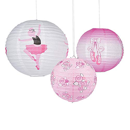Little Ballerina Hanging Paper Lanterns - (Set of 3) - Ballerina Birthday Party Decorations - Ballet Party Supplies