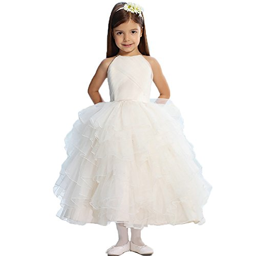 (Dzdress Lovely Organza Wedding Pageant Flower Girl Ivory Dress Fluffy 6)