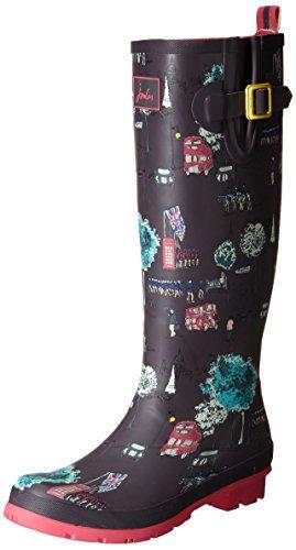 Joules Women's Welly Print Rain Boot, Slate London Bus, 5 M US ()