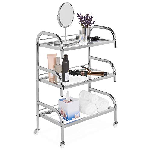 Best Choice Products 3-Tier Multifunctional Portable Rolling Steel Bathroom Storage Stand Salon Spa Utility Trolley Cart w/Glass Shelves, 4 Detachable Wheels - Chrome