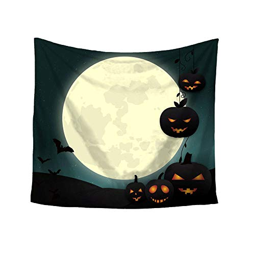 Landfox Halloween Printing Square Decorative Tapestry Beach Throw Round Towel Yoga Mat]()