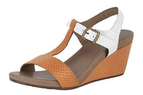 De Connections orange Best Blanc En Cuir Femmes Sandalette Sandales Compensées qPxRwpX