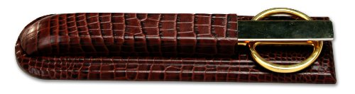 Dacasso Brown Crocodile Embossed Leather Library Set by Dacasso