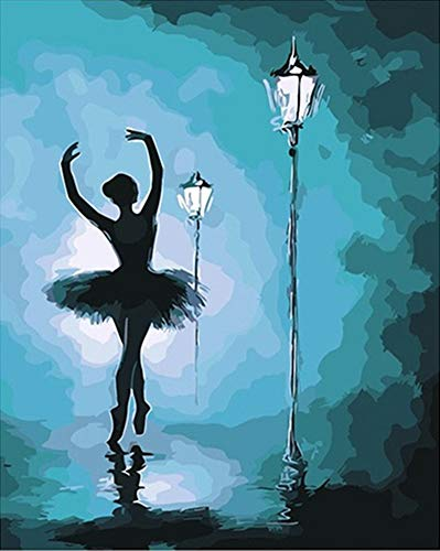 YEESAM ART Paint by Numbers for Adults Kids, Ballet Dancer Girl Ballerina Streetscape 16x20 Inch Linen Canvas Acrylic DIY Number Painting Kits Wall Art Decor Gifts (Framed)