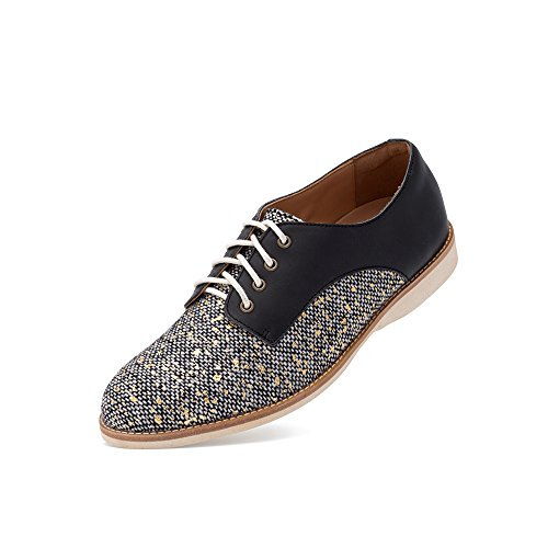 (Rollie Women's Derby Tweed/Black, Gray Tweed with Gold Flecks Leather Oxfords Black Flat Shoes for Women with Laces, Size 7 US / 38 EU)