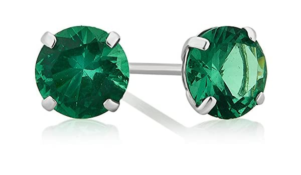 10K White Gold Round Simulated Green Emerald Stud Earrings Choose Your Size