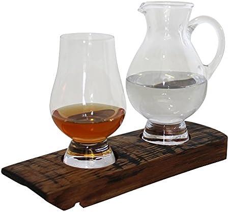 Reza - Bandeja de degustación de barril de whisky escocés de madera de roble con cristal de degustación Glencairn y jarra de agua