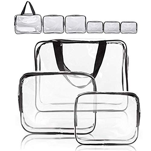 Clear Makeup Bags, APREUTY TSA Approved 6Pcs Cosmetic Makeup Bags Set Waterproof Clear PVC with Zipper Handle Portable Travel Luggage Pouch Airport Airline Vacation Organization for Christmas Gifts