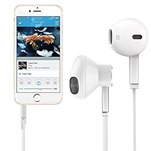 In-Ear Headphones 2-PACK Earphones Earbuds Headphones [Ergonomic Fit] with Stereo Mic & Remote Control for iPhone, iPad, iPod, Smartphones,Tablets, MP3/MP4 Players, Devices with 3.5mm and More (White)