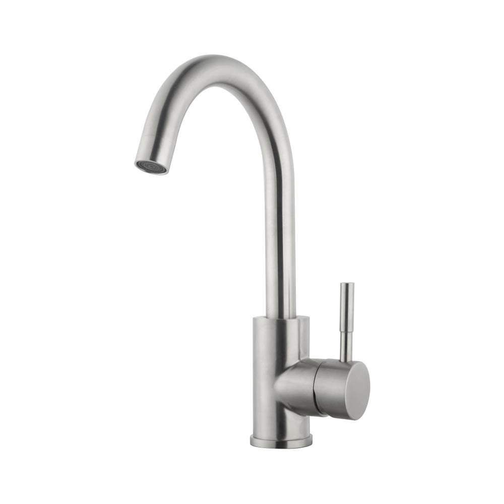 Sarlai Modern Commercial Brushed Nickel Stainless Steel Single Handle Kitchen Bar/Prep Sink Faucet, Hot and Cold Single Lever Kitchen Faucets