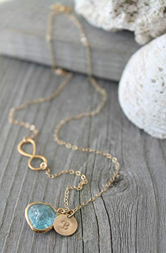 14k gold filled infinity Initial Necklace, Cracked Aquamarine glass pendant, personalized stamped letter, Custom bridesmaids aqua blue mint crystal charcoal grey alice blue