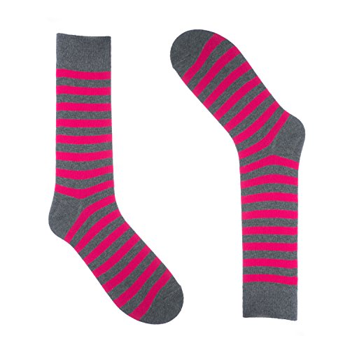 Ivory + Mason Striped Socks for Men - Dress Sock - Colorful - Hot Pink and Grey Color - Cotton - Size 8-13 (One Pair)