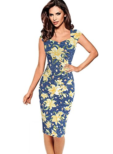 VfEmage Womens Sexy Elegant Summer Casual Party Cocktail Sheath Bodycon Dress 2613 Blue 18 (Sexy Western Dress)