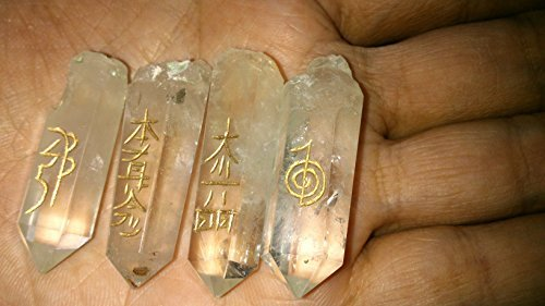(Powerful Natural Crystal Quartz Point Usui Reiki Healing Set Chakra Balancing Meditation Gemstone Spiritual Energized Positive Mental Peace Prosperity Growth Bonding Relationship De-stress Anxiety Reduction Massage Crystal Therapy Psychic Gift)