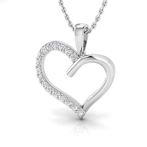 IGI Certified 1/5 Carat Natural Diamond Sterling Silver Heart Pendant for Women with Chain (J-K Color, I2-I3 Clarity)