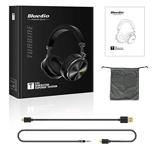 Bluedio T5S Bluetooth Headphones Over Ear Smart Stereo Wireless Headsets for Music & Phone, Active Noise Cancelling, Built-in Mic (Black)