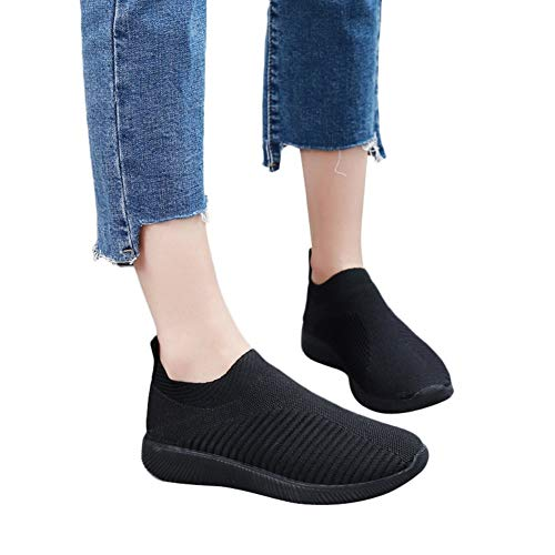 Women's Fashion Sneakers Running Lightweight Breathable Casual Sports Shoes Walking Shoes Sock Shoes by Lowprofile Black