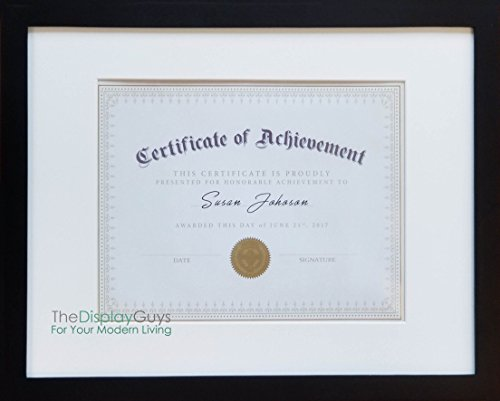 Border Award - The Display Guys ~ 8.5 x 11 Black Solid Pine Wood Frame Use Pictures, Certificate, Diploma, Documents, Luxury Made Affordable, Tempered Glass White Mat Board