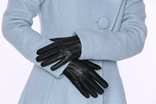 MoDA Ms Amsterdam Womens Luxury Winter Driving Leather Touch Screen Texting Gloves